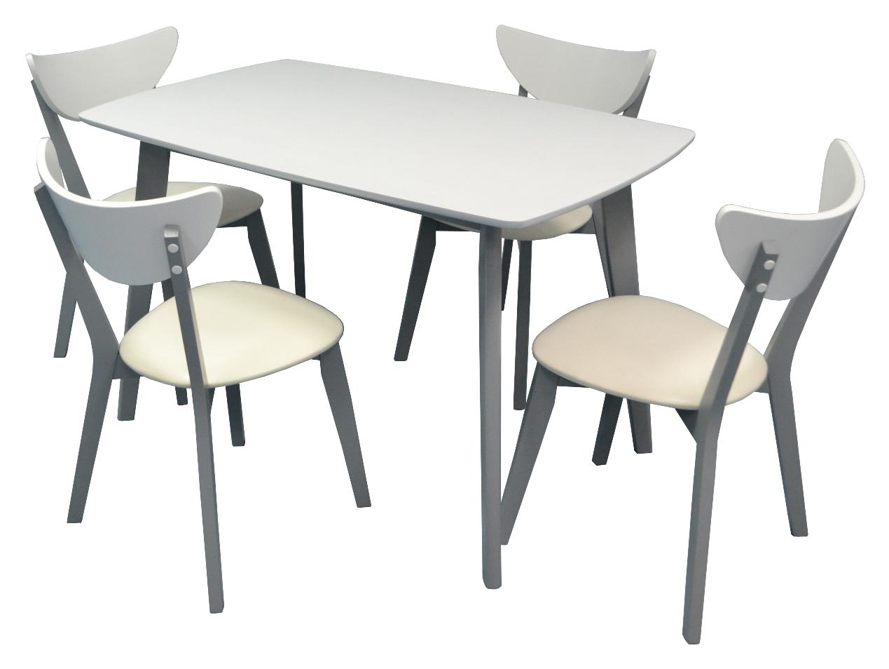Стол Cooper White + 4 Стула Cameroon White/Grey